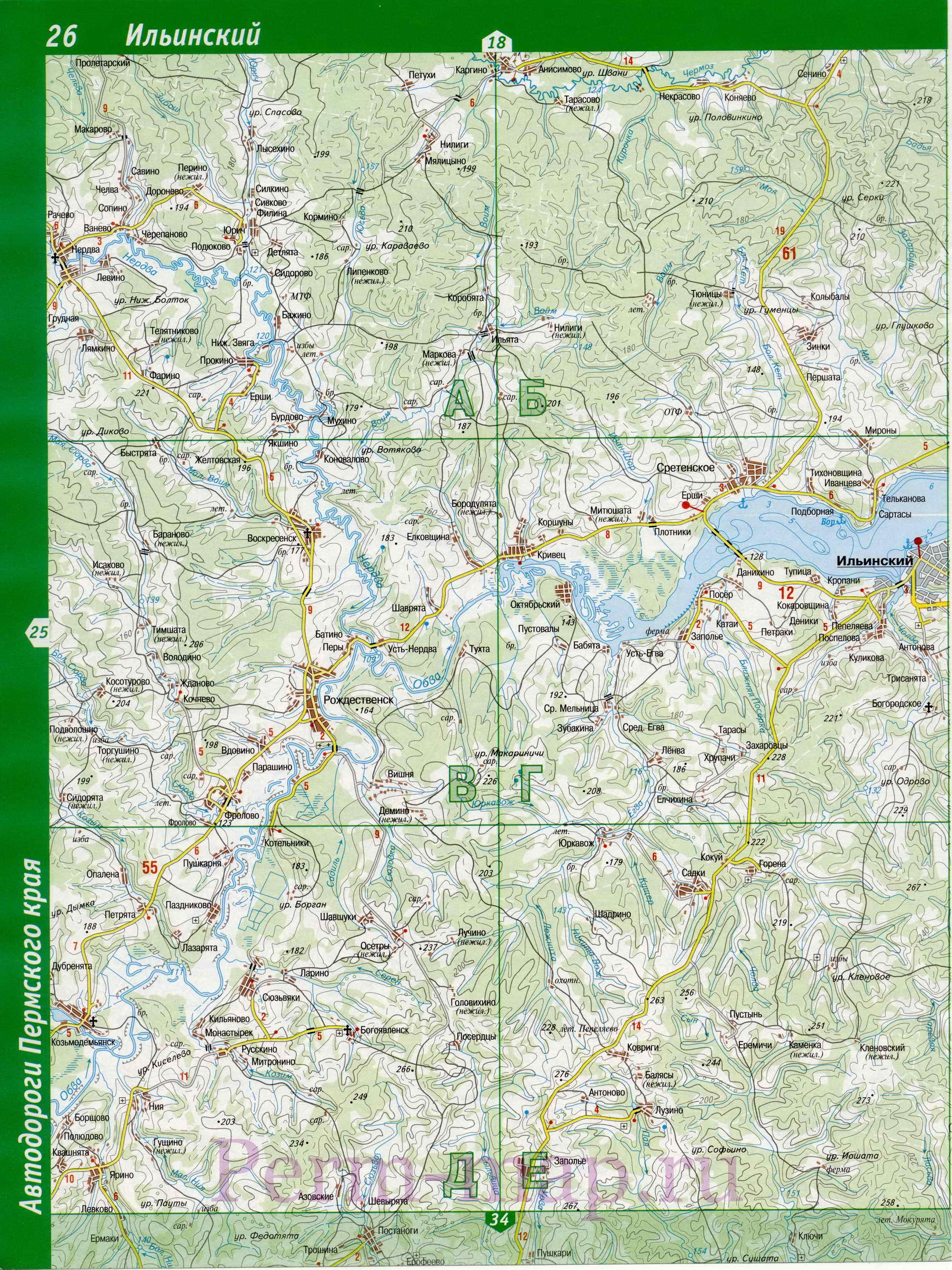 Ильинский район на карте пермского