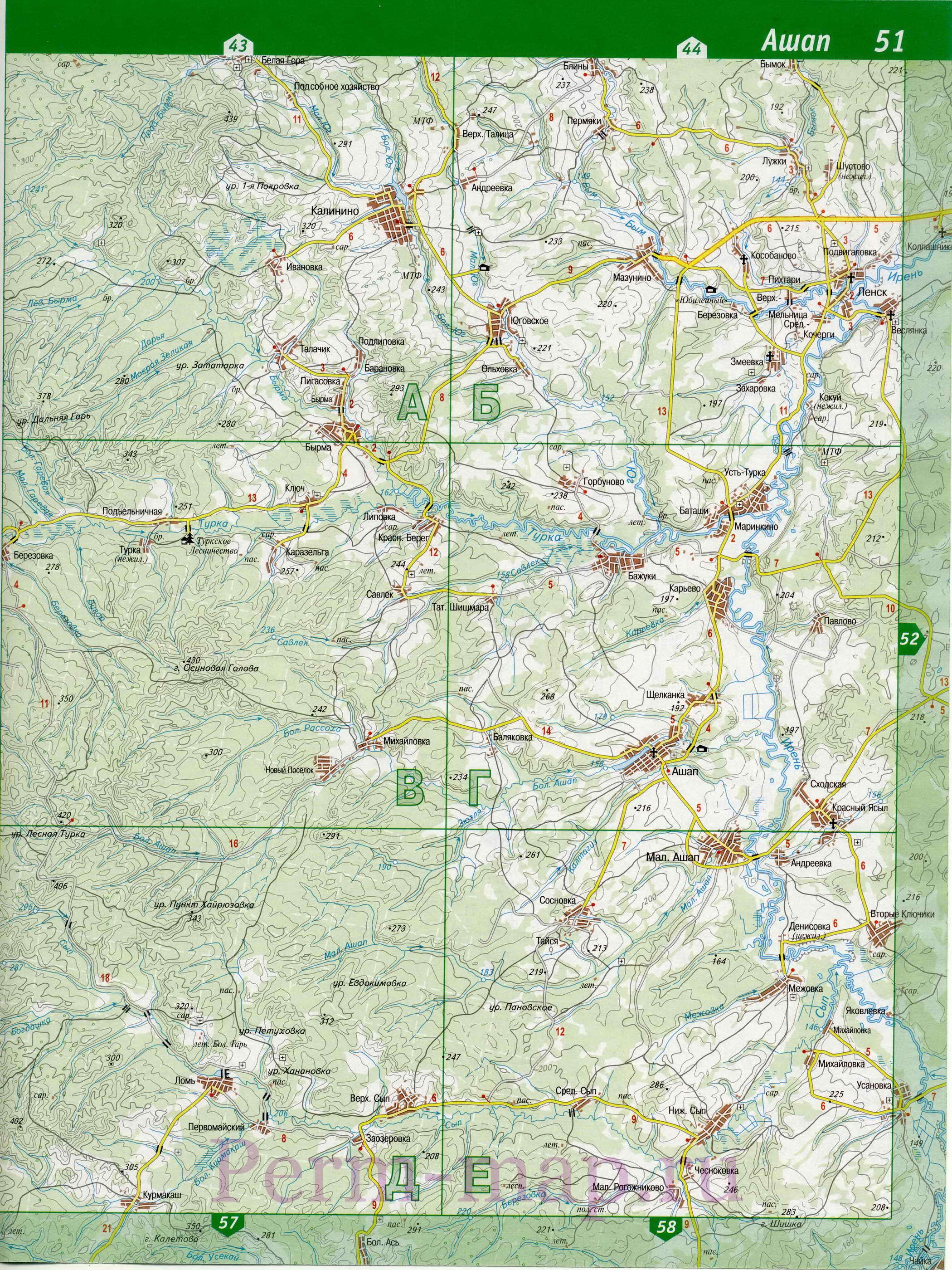 Ординский район - топографическая
